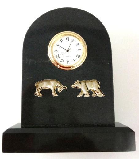 Bull and Bear Black Marble Clock for Stockbroker - Personalized Gi