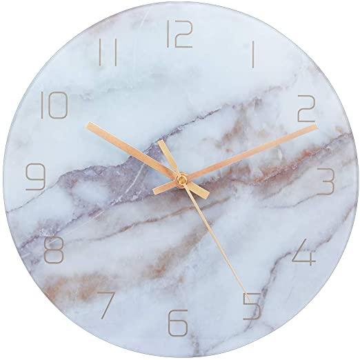 Amazon.com: PATGO Decorative Glass Wall Clock for Marble Pattern .