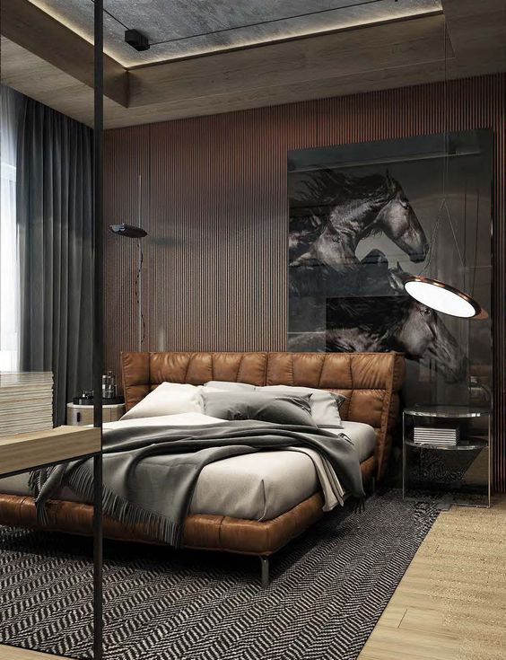 brown leather bed with an upholstered headboard | Luxurious .