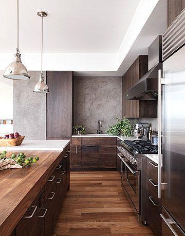A Dark and Handsome Kitchen | Modern wood kitchen, Kitchen .