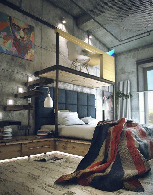 Masculine Loft Bedroom Design Inspiration | Loft inspiration, Loft .
