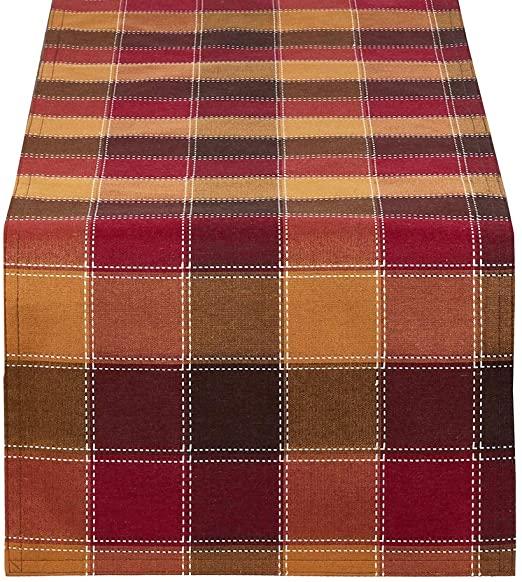 Amazon.com: Fennco Styles Holiday Thanksgiving Stitched Plaid .