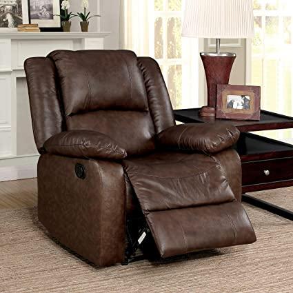 Amazon.com: Furniture of America Revon Classic Stitched Top Grain .