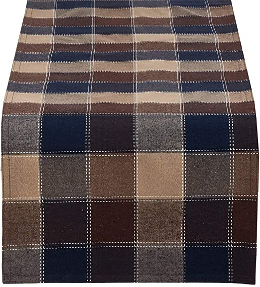 """Amazon.com: Fennco Styles Stitched Plaid Table Runner, 16""""x72 ."""