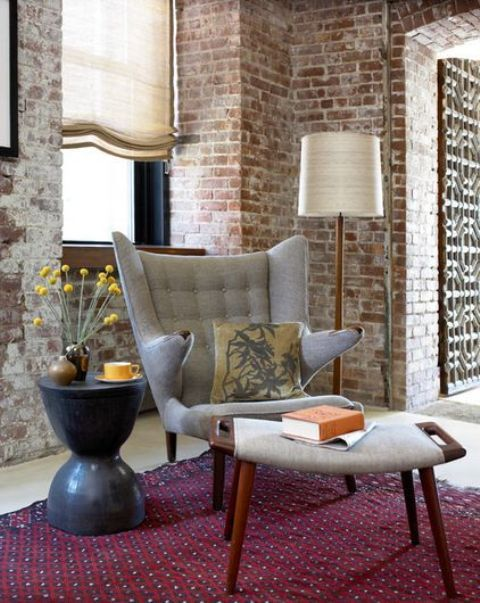40 Mid-Century Chairs To Get Inspired - DigsDigs | Brick interior .