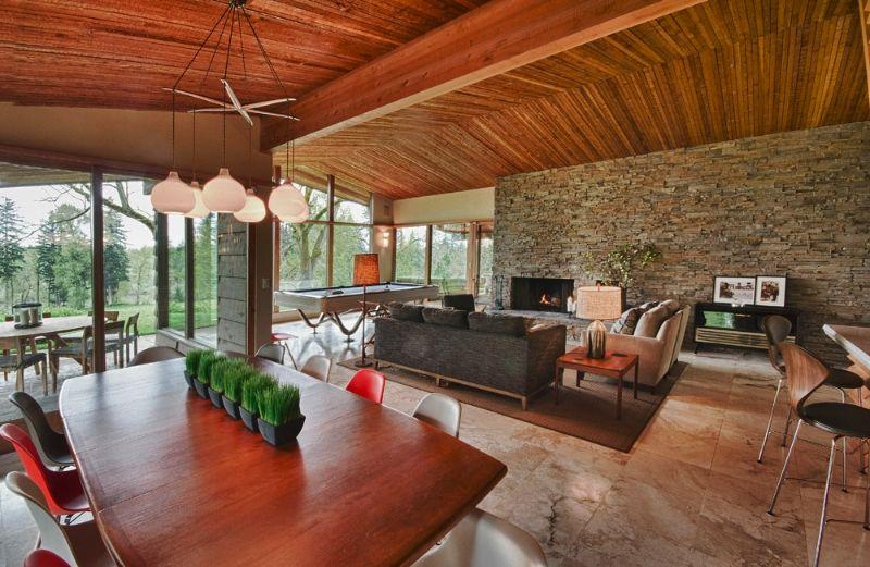 Open living space   Mid century modern house, Modern house design .