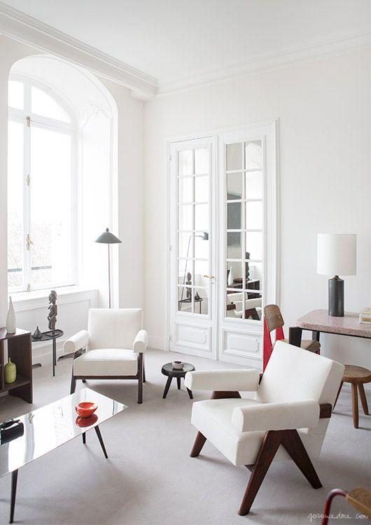 paris apartment interior, jean prouve, mid century furniture .