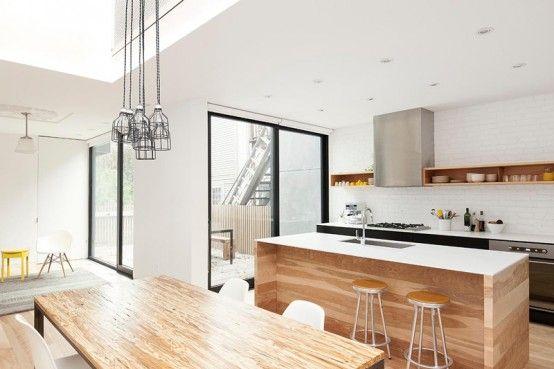 Minimal Black And White Kitchen With A White Brick Wall   Kitchen .
