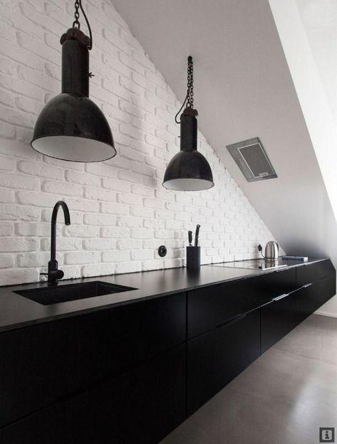 Sleek, minimal black & white galley kitchen   Black kitchens .