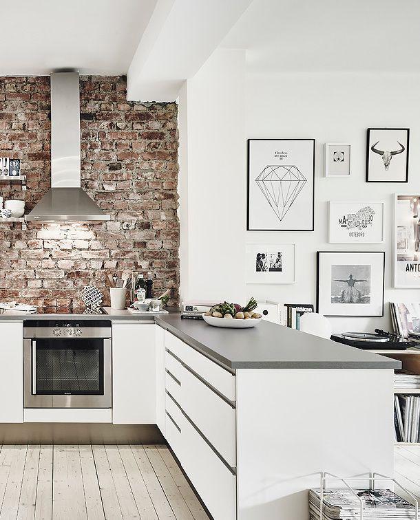 cozy kitchen* brick* white & stainless steel* minimal art black .