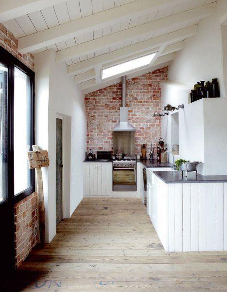 white kitchens   Brick wall kitchen, Home, Brick kitch