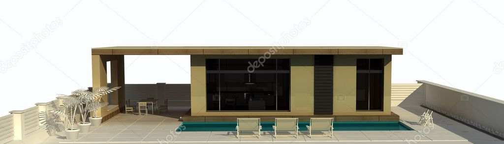 Vacation home in a minimalist style with swimming pool. isolated .