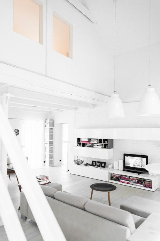 Minimalist And Airy White Loft From A Forge - DigsDigs | Living .