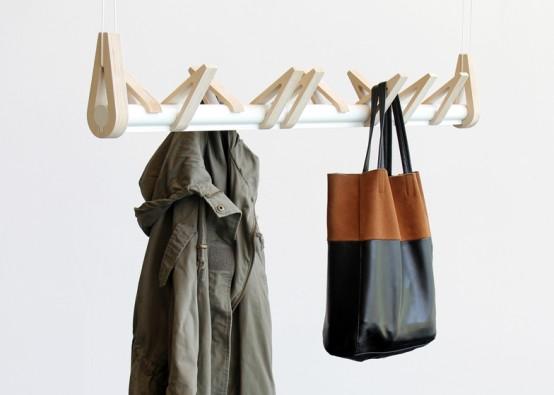 Minimalist 'Birds In A Row' Coat Rack Of Birch And Aluminum - DigsDi