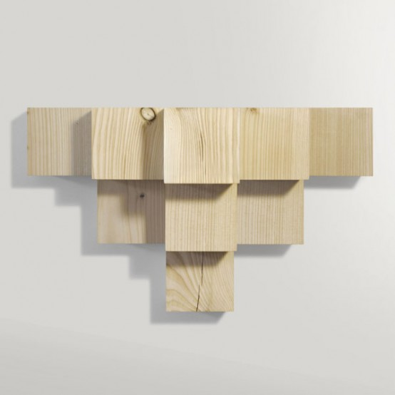 Minimalist Cubic Shelf Of Douglas Fir - DigsDi