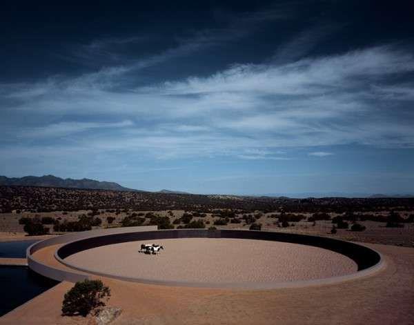 Minimalist Fortress-Like Farmsteads   Tadao ando, Santa fe ranch .