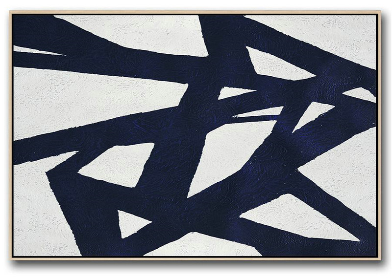 Large Wall Art Home Decor,Horizontal Abstract Painting Navy Blue .