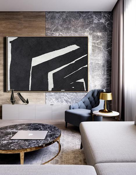 Horizontal Minimal Art #MN26C | Living room canvas, Contemporary .