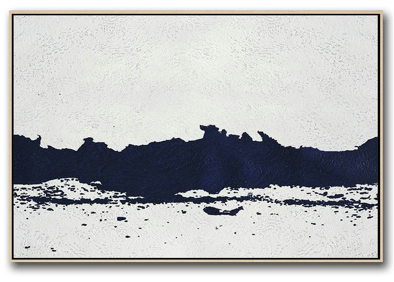 Horizontal Abstract Painting Navy Blue Minimalist Painting On .