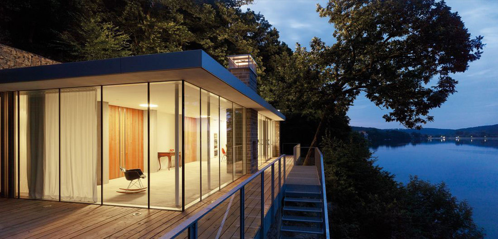 Lake House Above Rur Reservoir in Germany is Minimalist Masterpie