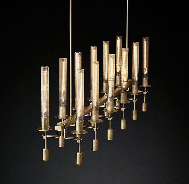 "Fontanelle Linear Chandelier 54"" | Mid century modern dining room ."