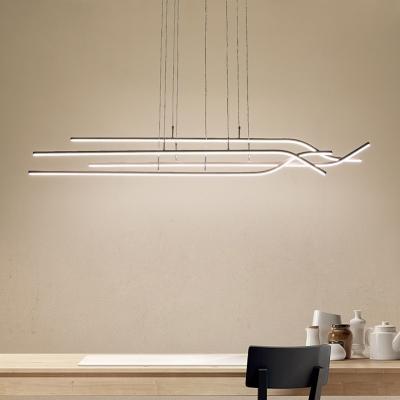 4 Light Linear Cluster Pendant Light Minimalist Metal Hanging .