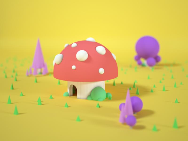 mushroom house by NaaRex on Dribbb