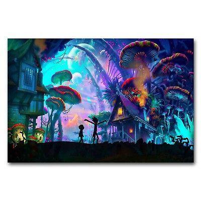 Rick and Morty mushroom house Art Silk Poster Print 24X36 inch .