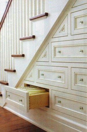 furniture : Minimalist White Under Stair Storage Drawers and Shelf .