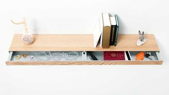 Floating Shelf with Sliding Drawer for Small Storage | Floating .