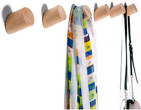 Amazon.com: Wall Hooks, Felidio Natural Wood Coat Hooks Wall .