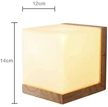 QJY Minimalist Solid Wood Table Lamp Bedside Desk Lamp, Glass .