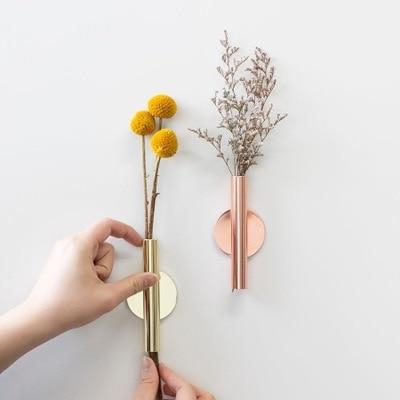Minimal Rose Golden Stainless Steel Wall Mount Vase with Magnetic .
