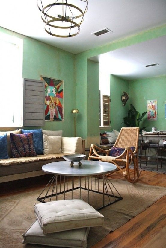 Mint Color In The Interior Ideas | Interior, Vintage living room .