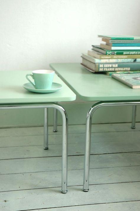 Mint Color In the Interiors: 35 Trendy Ideas | Verde menta, Mesa .