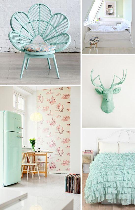 Mint Color In the Interiors: 35 Trendy Ideas | Pastel decor .