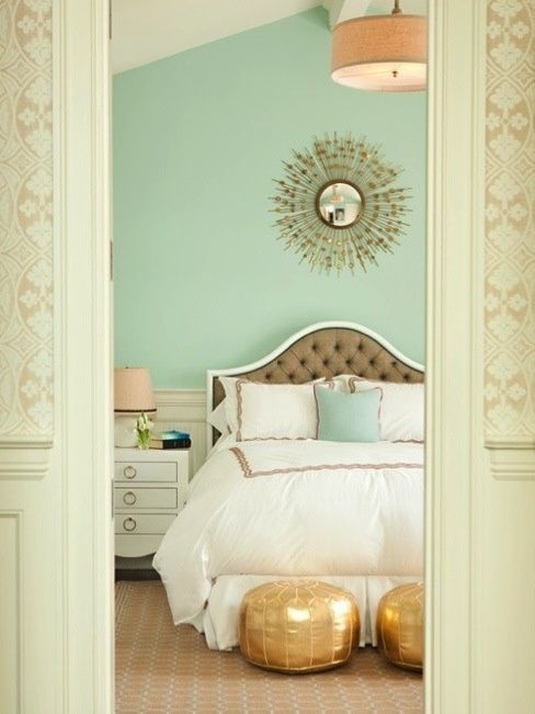 Mint Color In the Interiors: 35 Trendy Ideas | Bedroom .