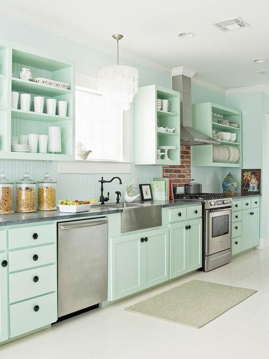 Mint Green kitchen: The most beautiful pictures and ideas for the .