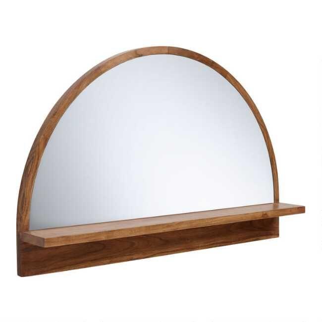 Half Round Mirror with Acacia Wood Shelf | Wood shelves, Mirror .