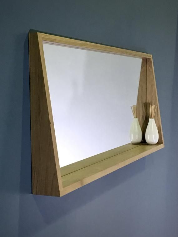 Mirror With Shelf Or Ledge Made From Solid Oak in 2020 | Mirror .