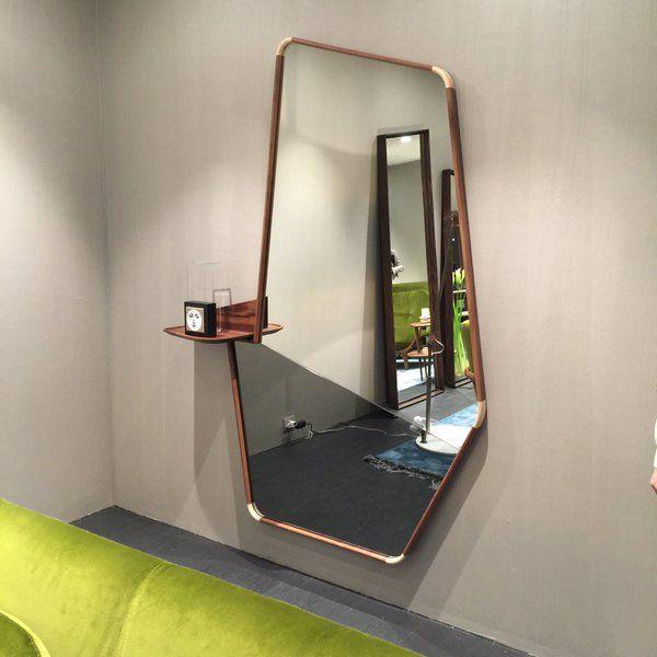 Asymmetric mirror with integrated shelf by Porada | Molduras .