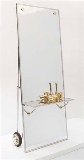 MATTIA BONETTI Mirror with integrated shelf and three vessels .
