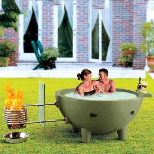 Alfi Fire Hot Dutch Tub Outdoor Wood Fired Hot Tub - Light Blue .