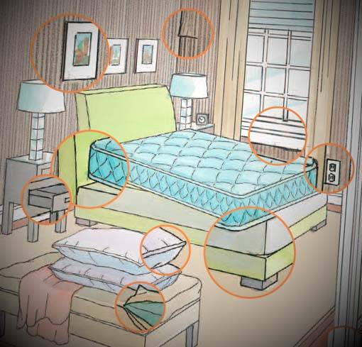 Guide to Where Bed Bugs Hide: Room Diagrams Ti