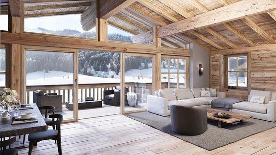 modern chalet, Scandinavian country style, alpine style furniture .