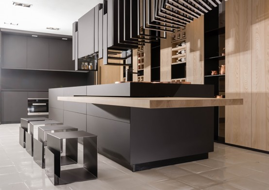 Modern And Sculptural Cut Kitchen With Personality - DigsDi