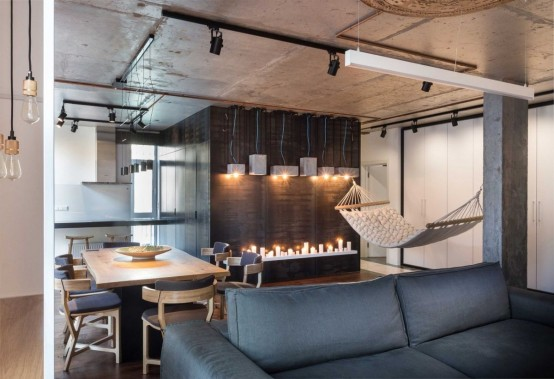 Modern Apartment With Industrial Features And Relaxing Ambience .