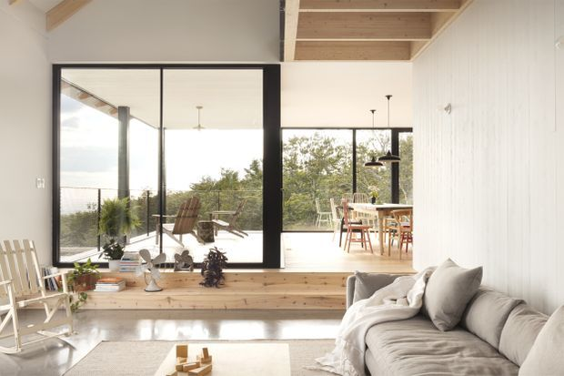 A chalet in Quebec's Eastern Townships inspired by rustic sugar .