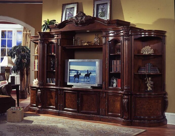 6 pc medium finish wood entertainment center wall unit with carved .