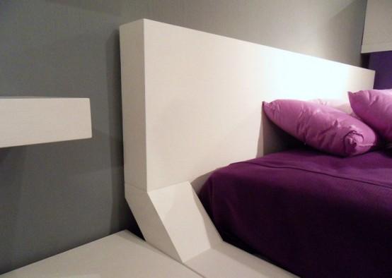 Modern Bedroom Design with Unusual Wall Shelves - DigsDi